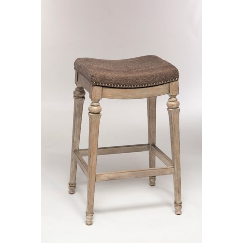 Hillsdale Backless Bar Stools Backless Non-Swivel Counter Stool with Nailhead Trim