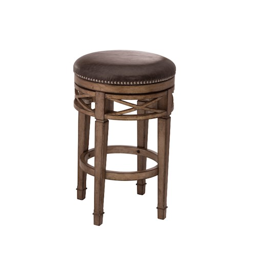 Morris Home Furnishings Backless Bar Stools Upholstered Backless Swivel Counter Stool