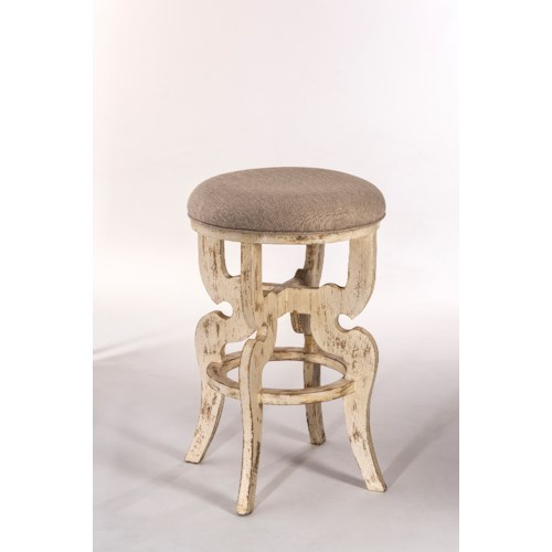 Hillsdale Backless Bar Stools Backless Counter Stool with a Distressed Finish and Upholstered Seat