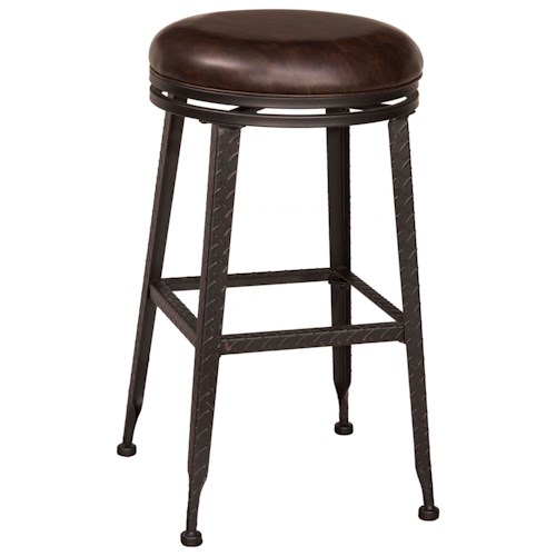 Morris Home Furnishings Backless Bar Stools Black Metal With Copper Highlights Backless Swivel Bar Stool