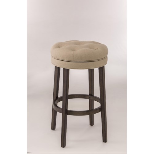 Morris Home Furnishings Backless Bar Stools Backless Swivel Counter Stool with Upholstered Seat
