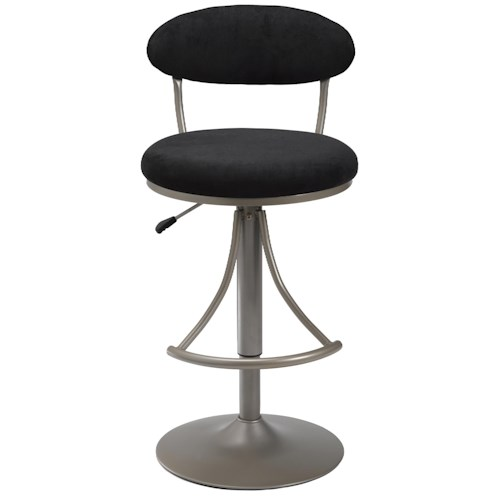 Hillsdale Metal Stools Adjustable Height Venus Swivel Stool with Black Suede