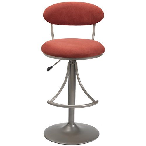 Morris Home Furnishings Metal Stools Adjustable Height Venus Swivel Stool with Flame Suede