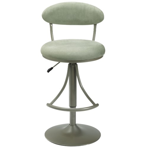 Morris Home Furnishings Metal Stools Adjustable Height Venus Swivel Stool with Atmosphere Suede