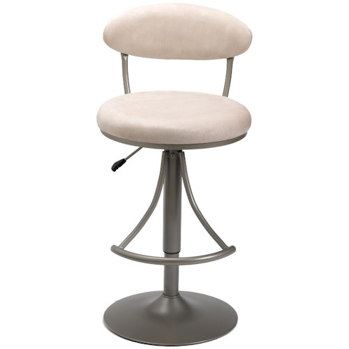 Morris Home Furnishings Metal Stools Adjustable Height Venus Swivel Stool with Fawn Suede