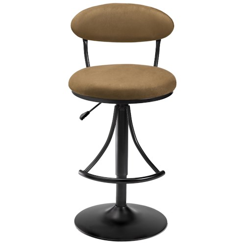 Morris Home Furnishings Metal Stools Adjustable Height Venus Swivel Stool with Bear Suede