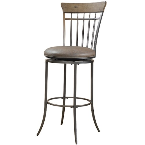 Morris Home Furnishings Metal Stools Charleston Swivel Vertical Spindle Back Counter Stool