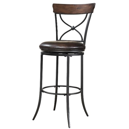 Morris Home Furnishings Metal Stools Cameron Swivel X-Back Counter Stool