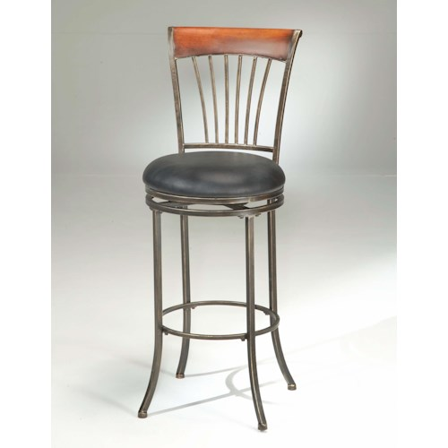 Morris Home Furnishings Metal Stools Riley Wood Swivel Bar Stool with Metal Spokes