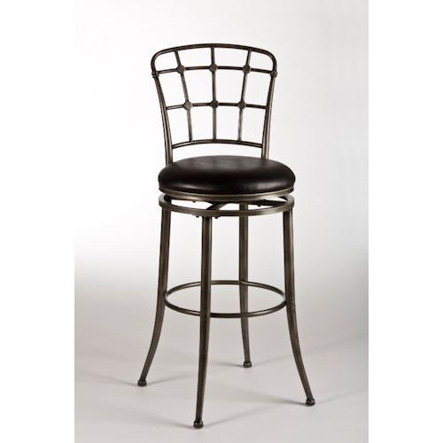 Morris Home Furnishings Metal Stools Claymont Swivel Bar Stool with Lattice Back