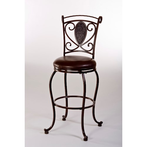 Hillsdale Metal Stools Scarton Swivel Bar Stool with Flur De Lies Back