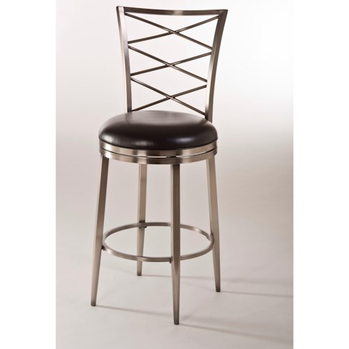 Morris Home Furnishings Metal Stools Swivel Counter Stool with Upholstered Seat