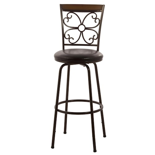 Morris Home Furnishings Metal Stools Garrison Swivel Counter/ Bar Stool with Scroll Work