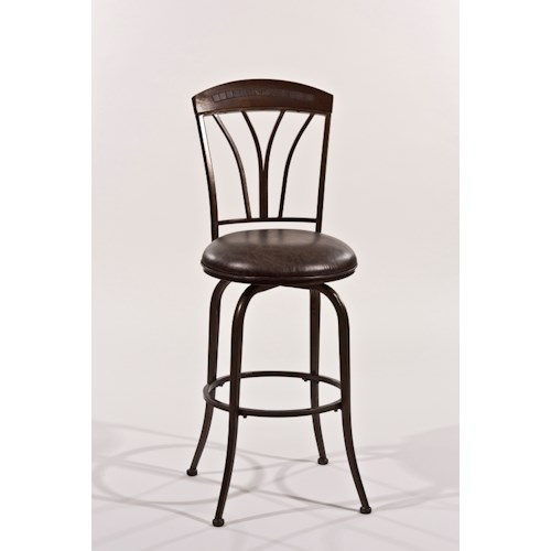 Morris Home Furnishings Metal Stools Art Deco Inspired Swivel Counter Height Stool