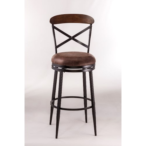 Hillsdale Metal Stools Swivel Counter Height Stool with X-Backrest