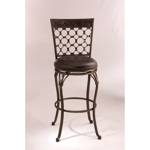 Hillsdale Metal Stools Swivel Bar Height Stool with Circular Motif Backrest