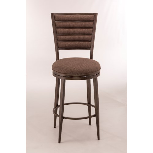 Morris Home Furnishings Metal Stools Swivel Bar Height Stool With Upholstered Backrest
