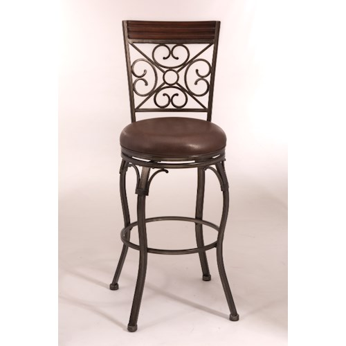 Morris Home Furnishings Metal Stools Swivel Counter Height Stool with Ornate Backrest