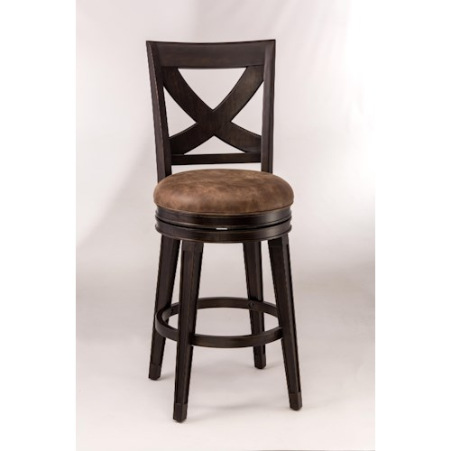 Morris Home Furnishings Metal Stools Swivel Bar Height Stool with X-Backrest