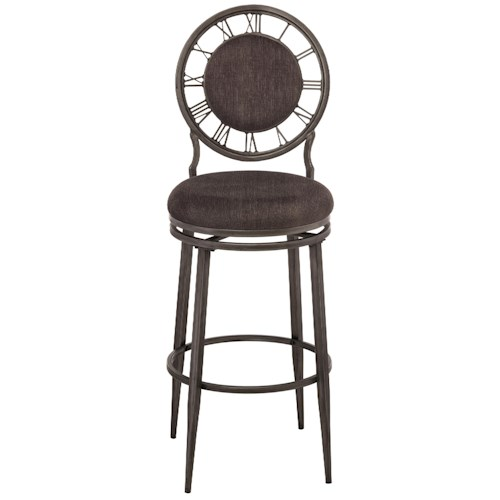 Hillsdale Metal Stools Swivel Bar Stool with Clock Backrest
