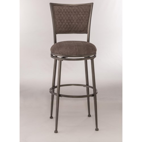 Morris Home Furnishings Metal Stools Upholstered Swivel Bar Stool