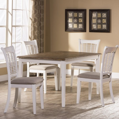 Morris Home Furnishings Bayberry White Five Piece Rectangle Dining Set