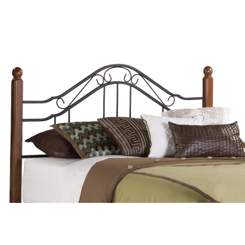 Morris Home Furnishings Metal Beds King Headboard with Wood Bed Posts and Rails