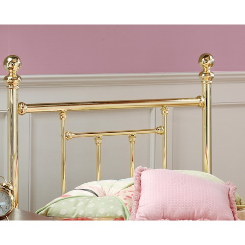 Morris Home Furnishings Metal Beds Twin Brass Headboard with Rails