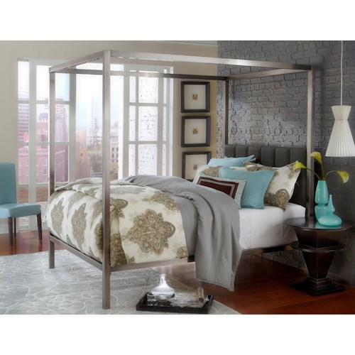 Morris Home Furnishings Metal Beds Canopy Queen Bed Set Upholstered Headboard