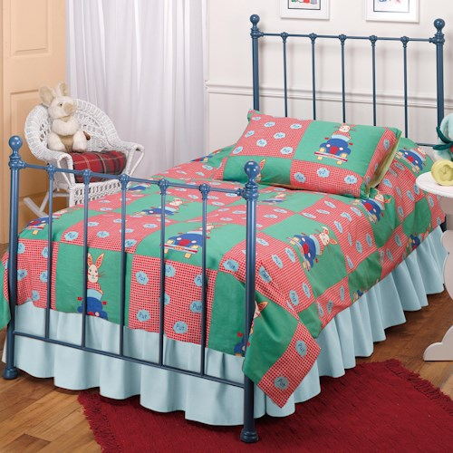 Morris Home Furnishings Metal Beds Twin Blue Molly Bed