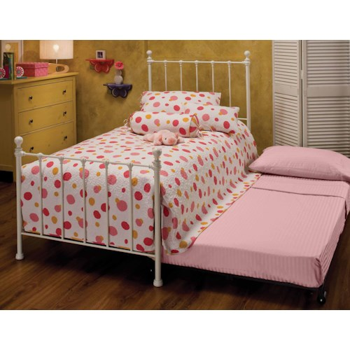 Morris Home Furnishings Metal Beds Twin White Molly Bed with Underbed Trundle