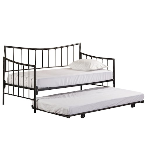 Hillsdale Metal Beds Twin Bed Set with Suspension Deck and Trundle