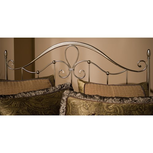 Morris Home Furnishings Metal Beds Doheny King Headboard with Flur De Lies Accent