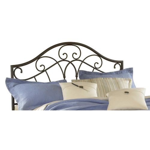 Morris Home Furnishings Metal Beds Josephine Full/ Queen Headboard with Romantic Design and Rails