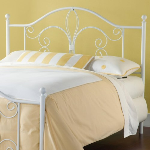 Morris Home Furnishings Metal Beds Ruby Full/Queen Headboard with Fleur De Lis Accent and Rails