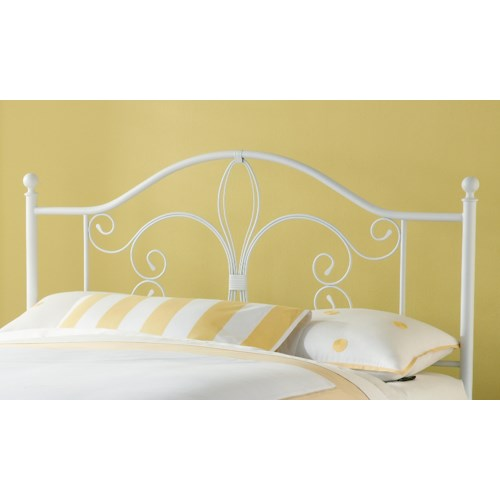 Hillsdale Metal Beds Ruby Duo Panel King Bed with Fleur De Lis Accent