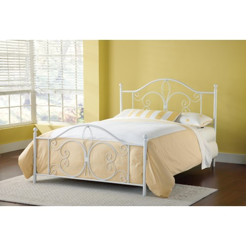 Hillsdale Metal Beds Ruby Queen Bed with Fleur De Lis Accent