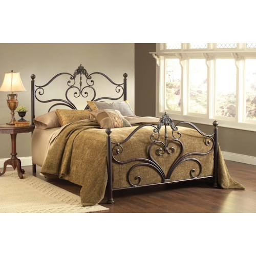 Morris Home Furnishings Metal Beds Newton Queen Bed Set with Scrollwork