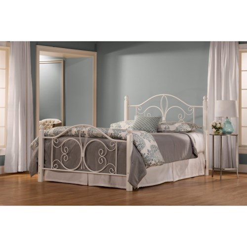 Hillsdale Metal Beds Twin Ruby Wood Post Bed Set with Rails