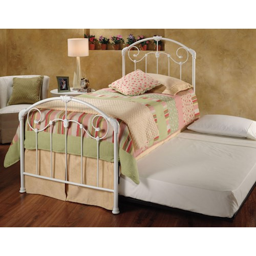 Hillsdale Metal Beds Mia Twin Bed w/ Roll-Out Trundle