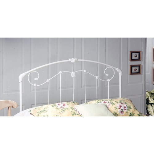 Morris Home Furnishings Metal Beds Maddie White Metal Full/Queen Headboard with Rails