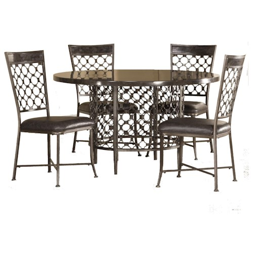 Morris Home Furnishings Brescello  5-Piece Round Dining Set with Bluestone Table