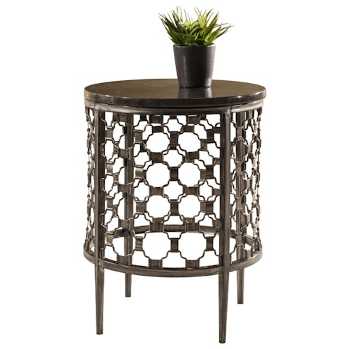 Morris Home Furnishings Brescello  Round End Table with Geometric Pattern