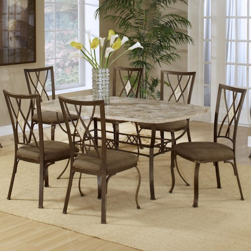 Hillsdale Brookside Seven Piece Rectangle Dining and Diamond Back Chair Set