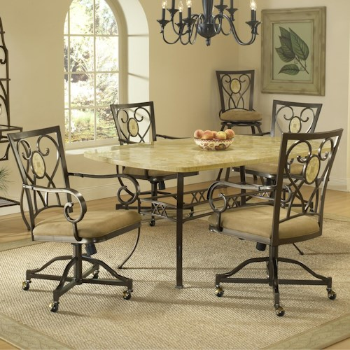 Morris Home Furnishings Brookside Five Piece Rectangle Dining Set with Caster Chairs