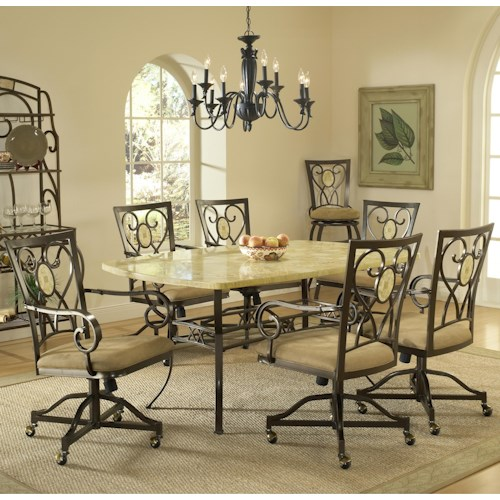Morris Home Furnishings Brookside Seven Piece Rectangle Dining Set with Caster Chairs