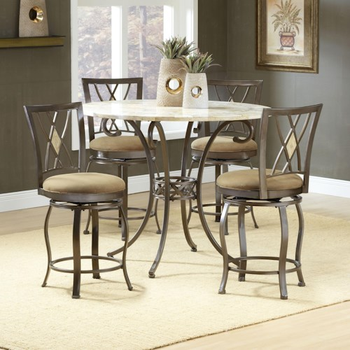 Morris Home Furnishings Brookside Five Piece Counter Height Dining Set with Diamond Back Stools