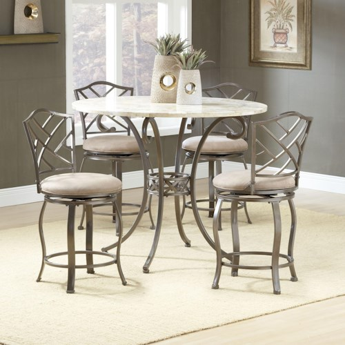 Hillsdale Brookside Five Piece Counter Height Dining Set with Hanover Stools