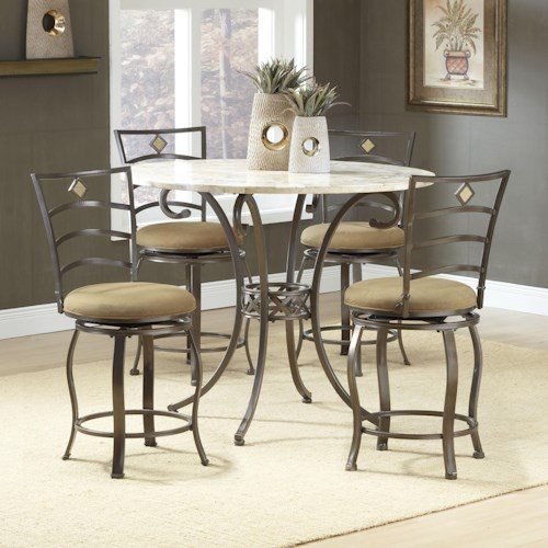 Morris Home Furnishings Brookside Five Piece Counter Height Dining Set with Marin Stools