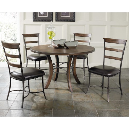 Hillsdale Cameron 5 Piece Metal Ring Dining Set with Ladder Back Chairs